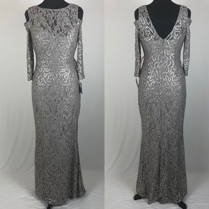 Marina Taupe Sequin Lace Gown